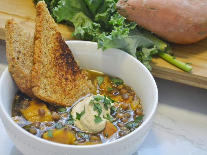 Mediterranean Monday: Lentil Curry Stew with Kale and Sweet Potatoes