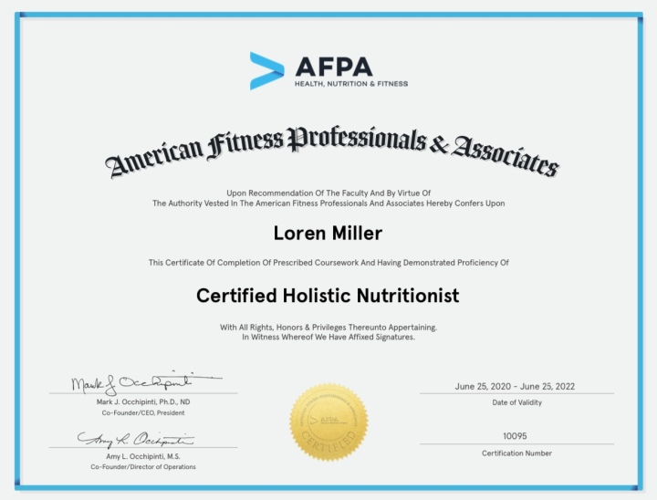 It's Official – I'm a Certified Holistic Nutrition Coach!
